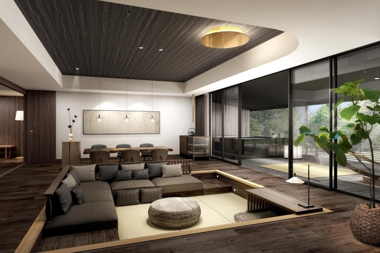 隈研吾による建築デザイン-ふふ奈良リビング