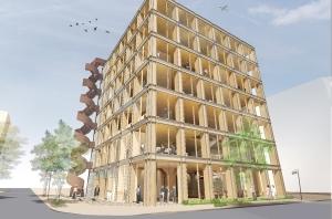 建築家 坂茂の建築デザインによる木質免震構造オフィスビル「タマディック名古屋ビル」着工
