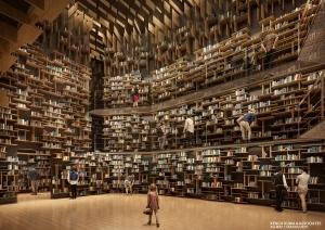 角川武蔵野ミュージアム「隈研吾/大地とつながるアート空間の誕生 ― 石と木の超建築」展の期間中、配架真最中の本棚空間を体験ツアーを実施
