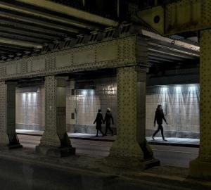歩行者とともに流れる光のアートワーク、アムステルダムの地下道を灯す