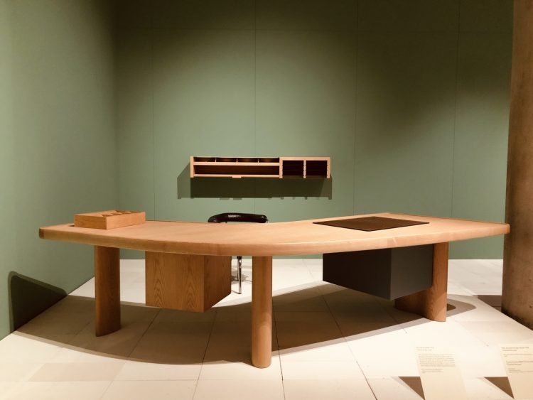 adf-web-magazine-boomerang desk 1938 designed for french newspaper, ce soir editor displayed at charlotte perriand the modern life exhibition