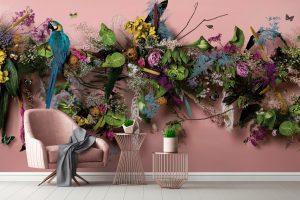 "Original artwork and luxury wallpaper mural, ""Wonderlust"" by Wedgwood × Feathr × Claire Luxton"